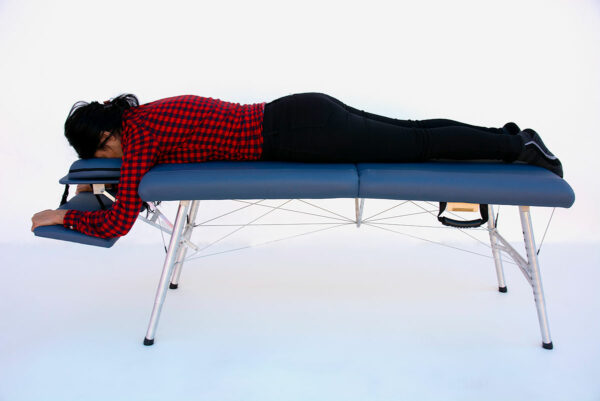 lightweight portable chiropractic table chiroport elite 20 with arm rest sideview image