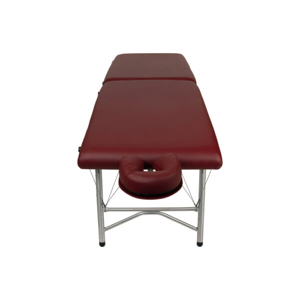 super-lightweight portable massage table burgundy front view
