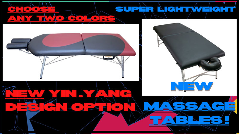 new massage tables, yin yang designs, astraport tables