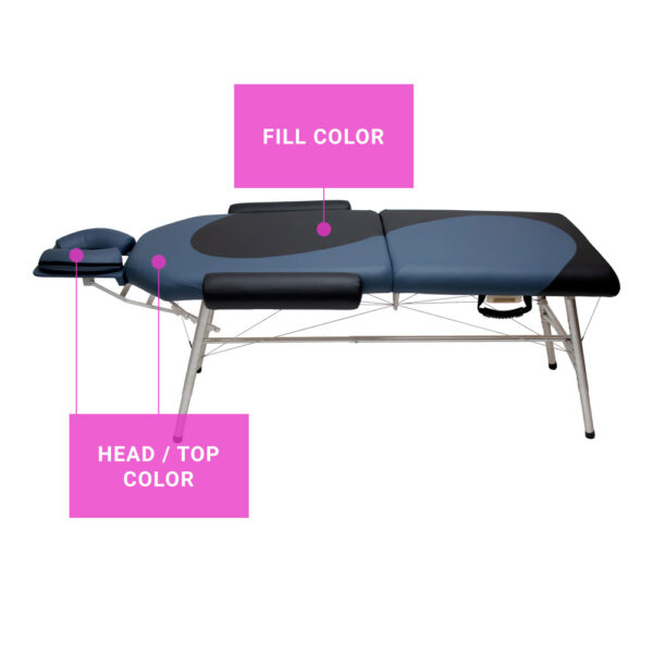 lightweight portable yin yang colored chiropractic table agate and black side view guidelines