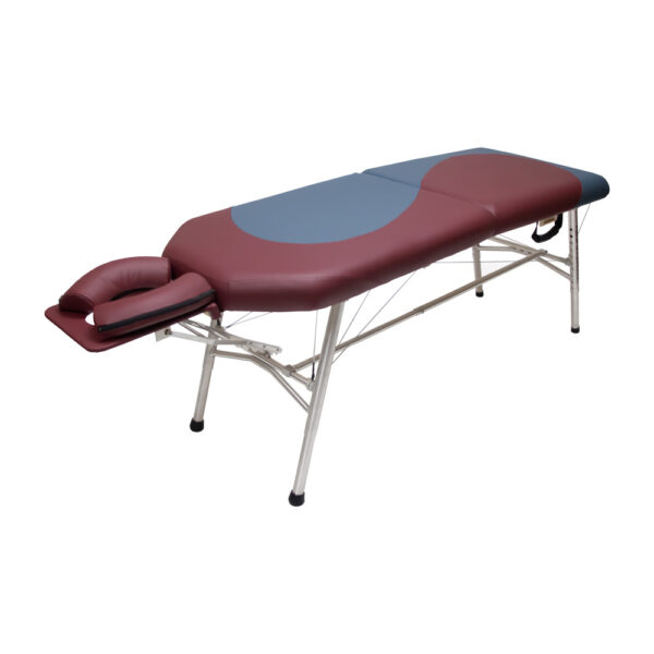 lightweight portable yin.yang design burgundy and agate colors chiropractic table chiroport elite extended neck angle view