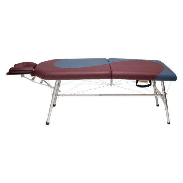 lightweight portable yin.yang design chiropractic table burgundy and agate colors chiroport elite extended neck side view