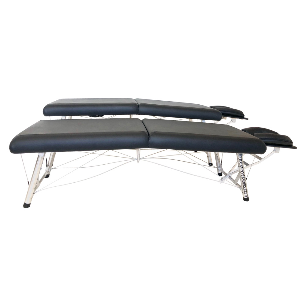 lightweight portable chiropractic table adjustable black height range low comparison side view