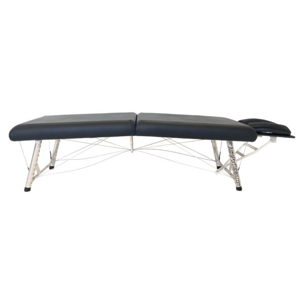 lightweight portable chiropractic table black extra low side view