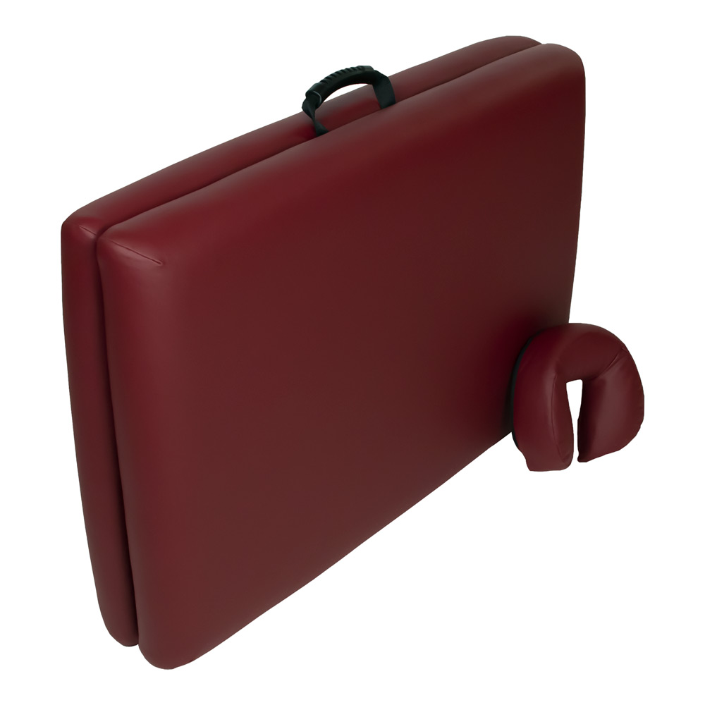 super-lightweight portable massage table burgundy closed with pillow