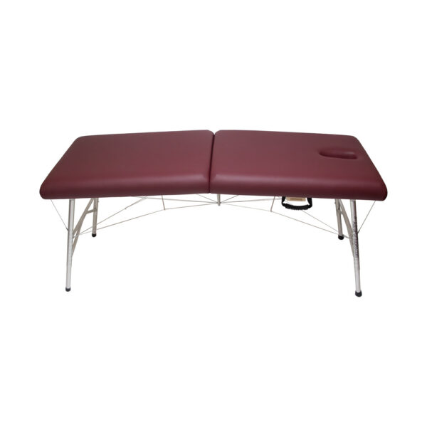 super-lightweight portable massage table burgundy with face hole uncovered side view